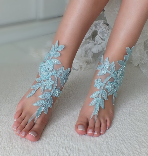 jewelry sandals Bridal blue anklet sandals Wedding something lace barefoot wedding barefoot Beach foot Gift Wedding sandals Bridal Z78YfR