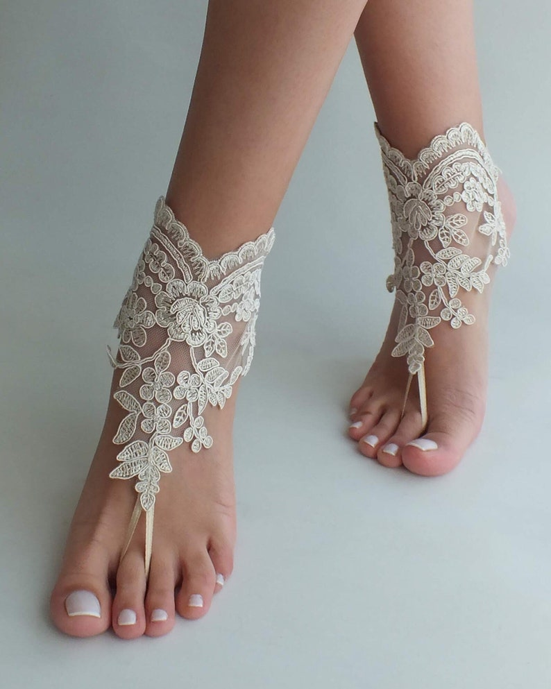 c0482590b Champagne or ivory lace barefoot sandals wedding barefoot