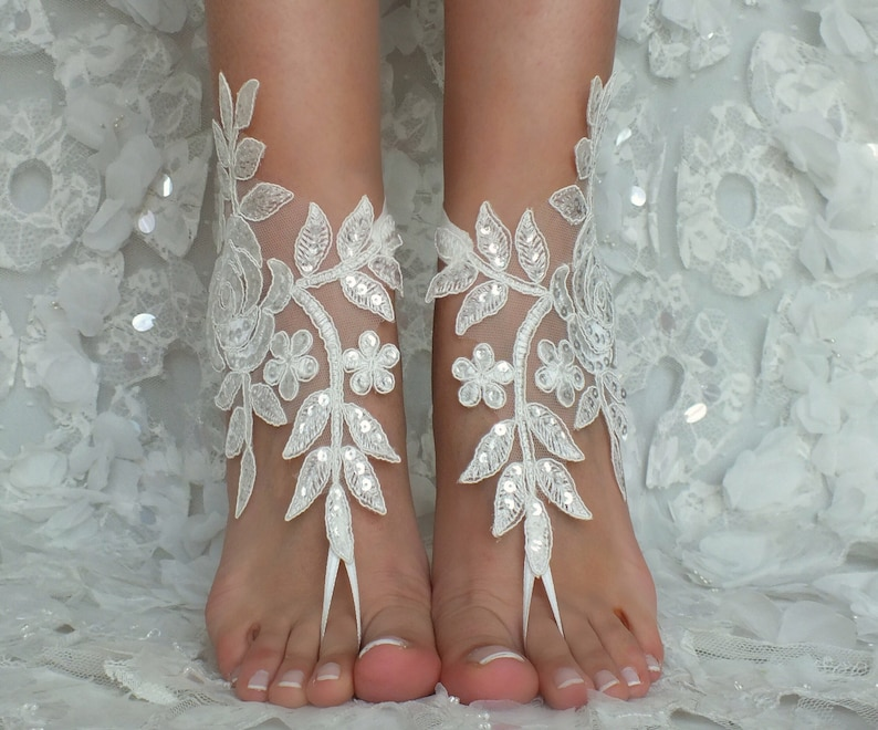 ce12129b7a458 Beach Wedding Barefoot Sandals ivory lace beach shoes