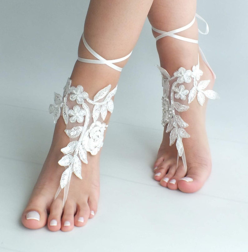 757c36090c989 Ivory barefoot sandals Lace barefoot sandals Wedding anklet