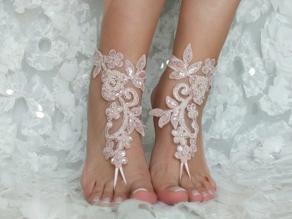 Bridal Bangle Barefoot Bridal Sandals Shoes Gift Accessories Jewelry Wedding Bridesmaids Anklet lace Bridal Wedding barefoot Beach Pink 6wROqA54