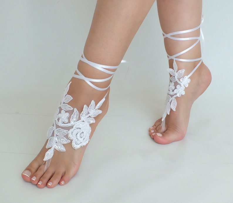 3aed9bc3c9433 Beach Wedding Barefoot Sandals Bridal Lace ShoesBridal Beach