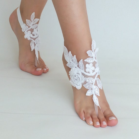 Shoes lace Bridal Bangle Bridal Wedding Weddings shoes Gift Anklets Bridesmaids Bridal Jewelry Sandals white Beach Barefoot beac Accessories IzqqO7