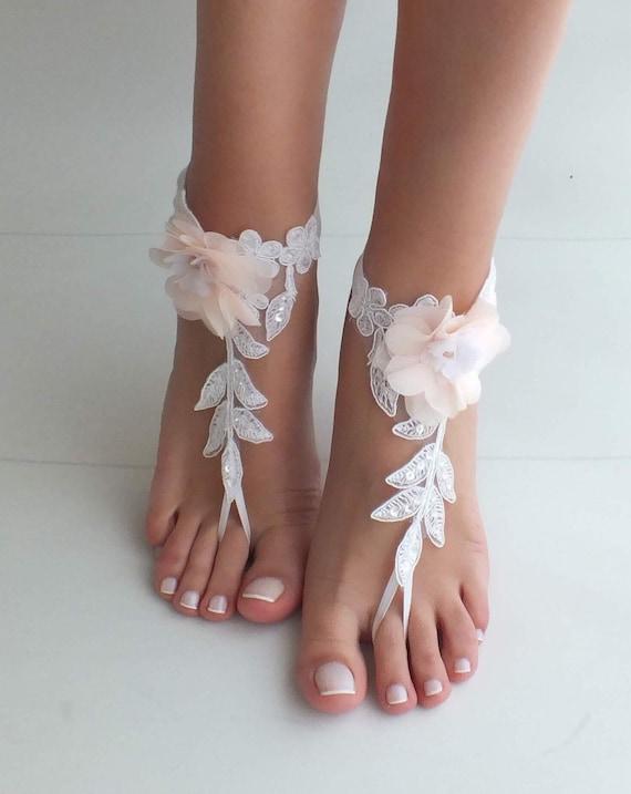 7d98802aba1c5f Beach wedding barefoot sandals blush flowers wedding shoes