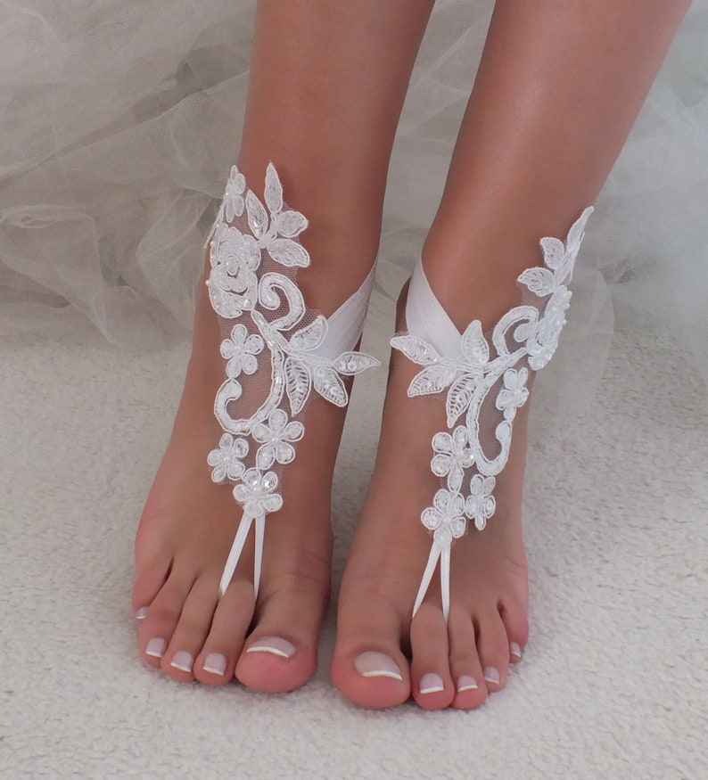 dd030af695c White or ivory lace barefoot sandals wedding barefoot Flexible