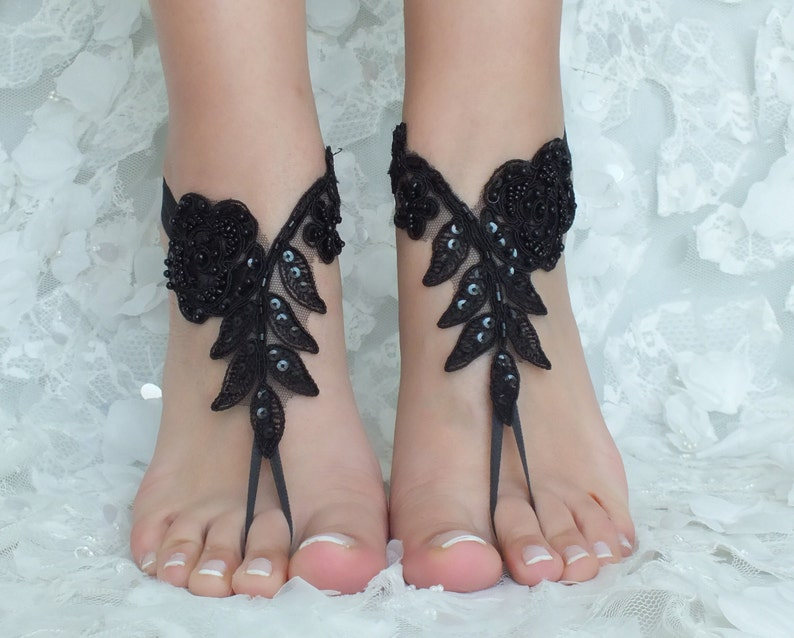 e335d16ba3d8 Black and ivory french lace gothic barefoot sandals wedding