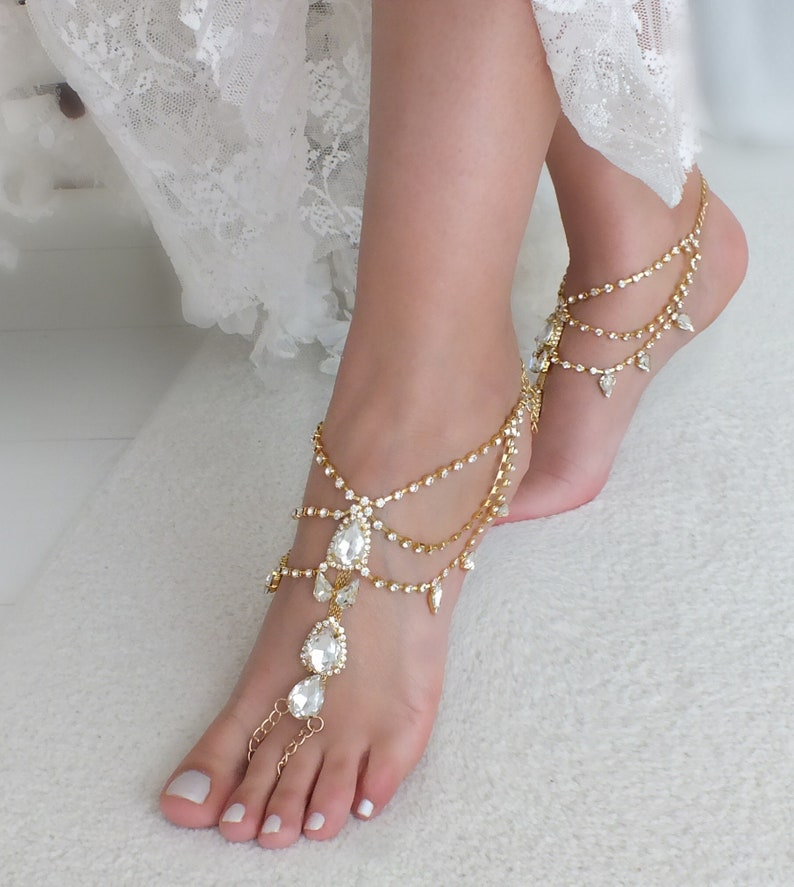 41b183794412 Gold or silver crystal barefoot sandals bridal anklet Beach