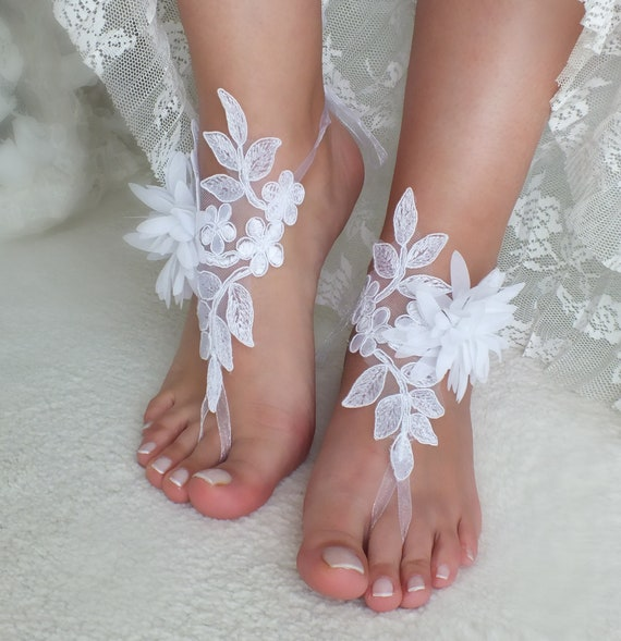 Beach lace white wedding wedding sandals floral sandals sandals Wedding wrist barefoot Bridal Gift barefoot lace barefoot Flexible sandals 4gAq4HU