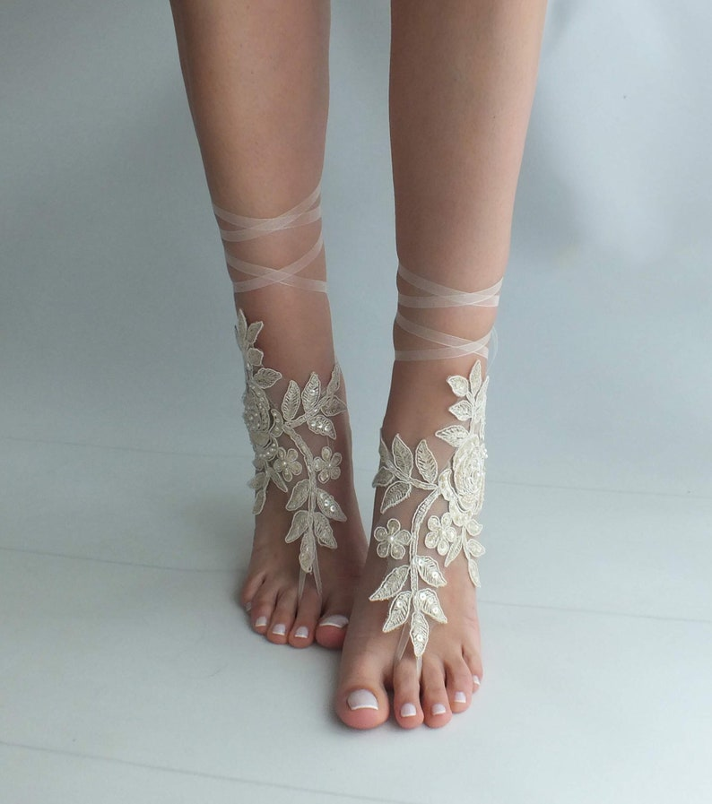 ab7e4bd951cef EXPRESS SHIPPING Champagne lace barefoot sandals wedding shoes