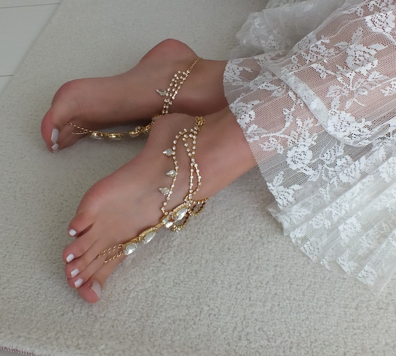 barefoot sandals crystal Beach accessories gift silver anklet barefoot jewelry foot bridal sandal Bridesmaid or Gold wedding Bridal TpqgAIzp