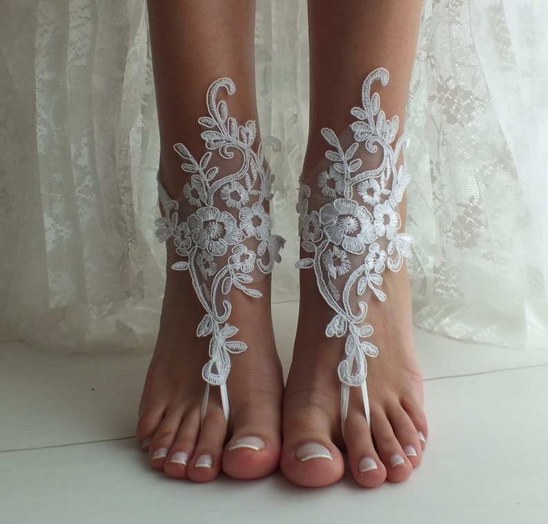 5313a123e13 White Beach wedding barefoot sandals wedding shoes beach shoes