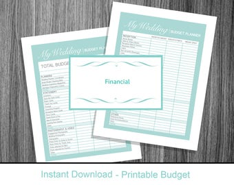 Wedding Planner Budget Sheet - Turquoise - Instant Download