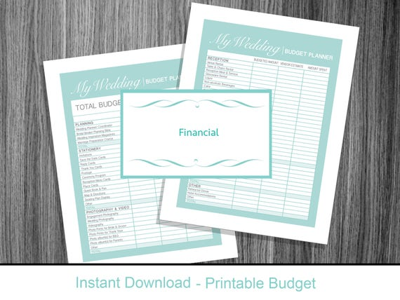 wedding planner budget sheet turquoise instant download