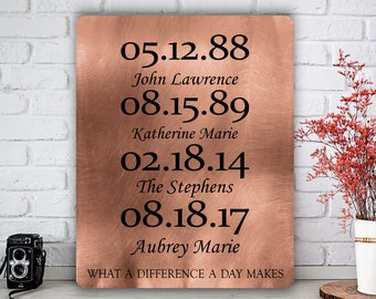 What a Difference a Day Makes, Custom Copper Gift, Metal Art Print, Wall Plaque, Anniversary Art, 7 Year Anniversary, Personalized Dates Art