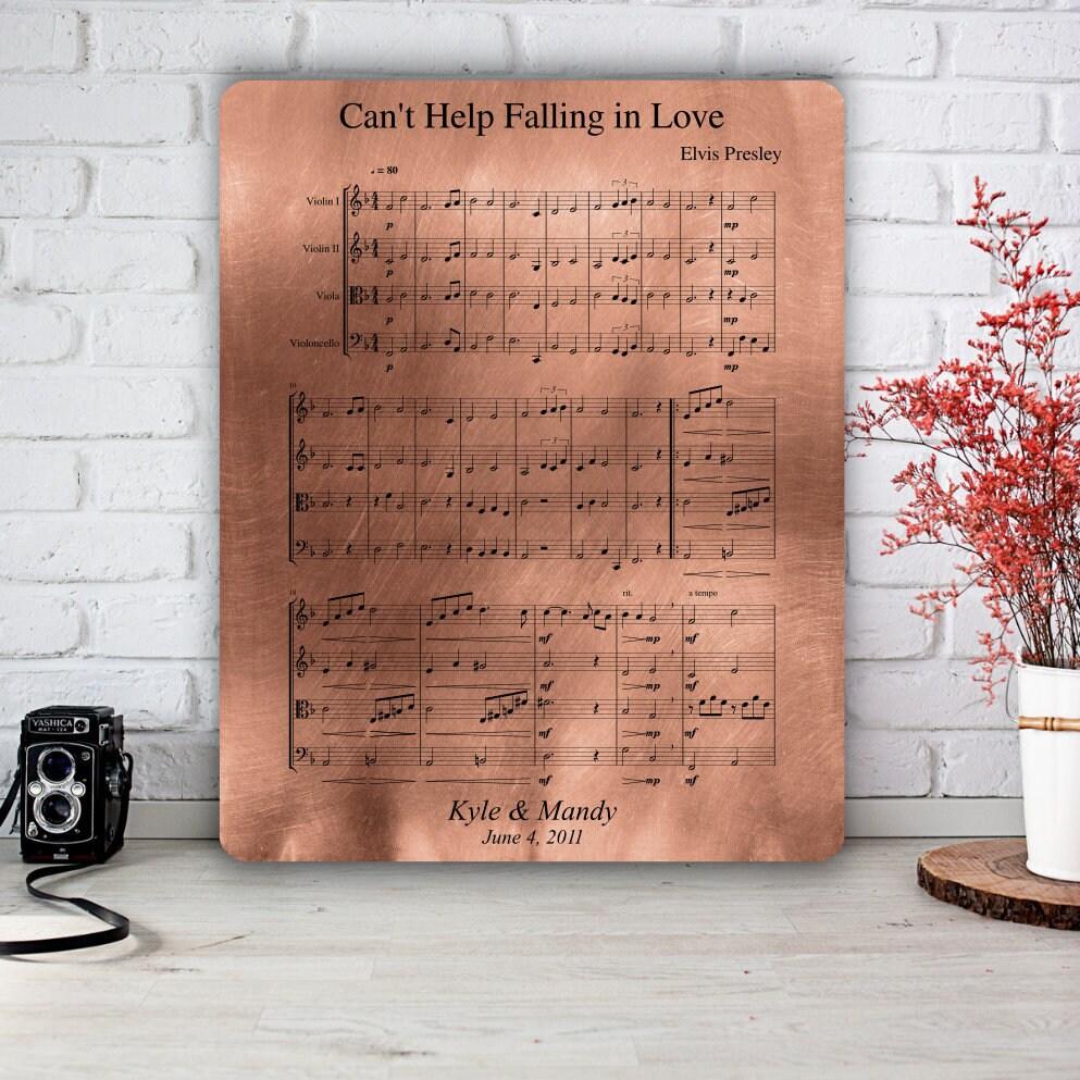 Copper Anniversary Gift Sheet Music Art 7th Anniversary