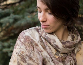 Silk Scarf eco print with BlackBerry leaves