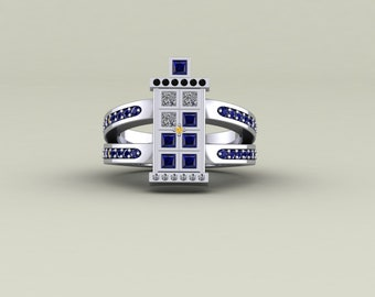 dbed28f5b Doctor Who Tardis Bling Blue Sapphire & White Cubic Zircon Diamond Sterling  Silver Engagement Ring, Tardis Bling Bling Wedding Ring