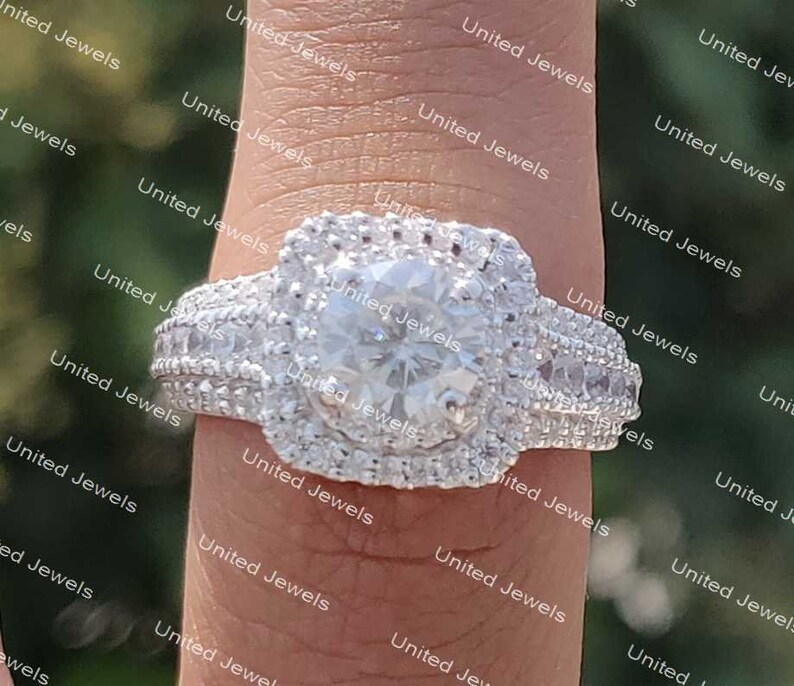 2.25ct Round white Diamond Beautiful Double Halo Engagement ring 925 silver ring