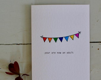 You are now an adult, Hand-Stamped Bunting Graduation, Celebration/ Greetings Card