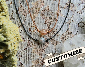 Flower Agate Crystal Leather Necklace// Cute boho choker made with cherry blossom stone