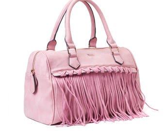Pink Fringe Handbag - Bohemian Bag, Boho Bag - Summer Bag