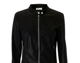 Black Zip Up Biker Jacket