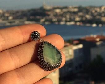 Turkish Pendant, Pendant - 925 Sterling Silver with Swarovski Elemenst / Handmade Turkish Jewelry
