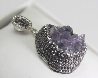 Adjustable Amethyst Pendant, OOAK Turkish Jewelry