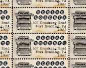 Custom Return Address Labels - Vintage Typewriter - Gummed and Perforated like classic stamps.