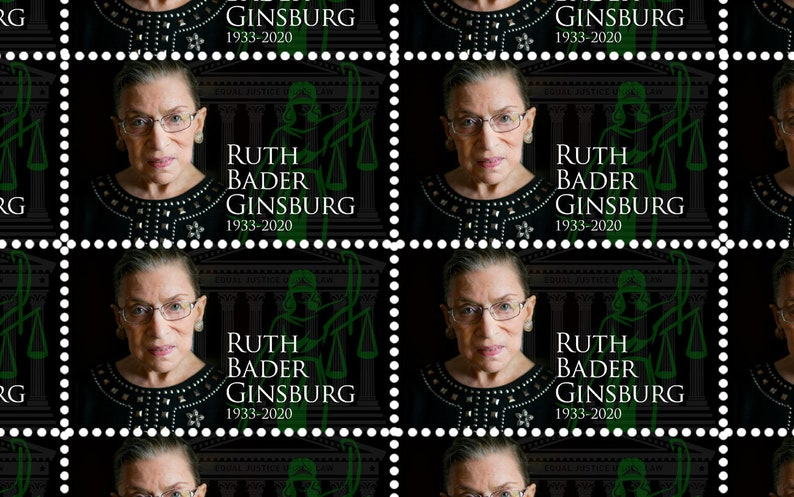 Cinderella, Faux Postage Sheet of 45 gummed and perforated stamps. Ruth Bader Ginsburg Celebrating RGB/'s Life Artistamp