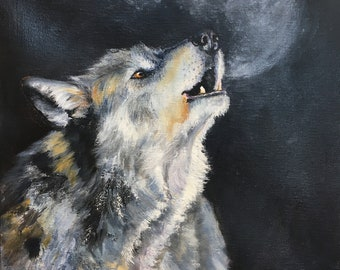 30d3a3974a4 Howling Wolf Original Oil Painting on Stretched Canvas with handing fixings