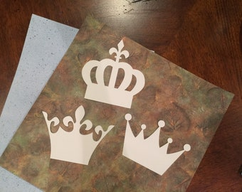 Paper Die Cuts, Crown Paper Die Cuts, ACEOs, ATCs, Mixed Media Collage, Paper Embellishments, Watercolor paper