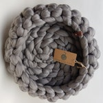 Cat Bed - Dove Grey - Giant Crochet - 100% Acrylic Vegan Yarn