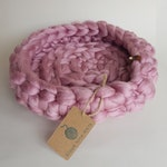 Cat Bed - Pet Bed - Cat Lover Gift - Cat Accessory - Cat Gift - Pet Bedding - Cat Cave - Soft Pink - Chunky Giant Crochet  - 100% Vegan Yarn