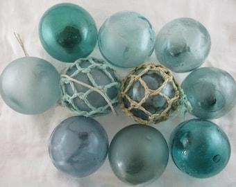 Ten Authentic Vintage Glass Floats, Alaska Beach Combed