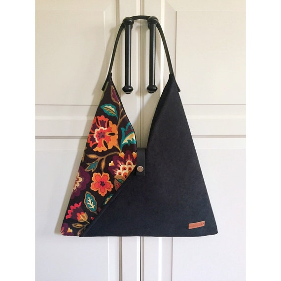 Gift for her leather handles FLORAL COTTON TOTE Hand Screen printed Custom design Mother day gift. snap button opening 1 inside pocket