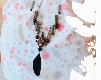 necklace • STYLE FOLK • with a feather