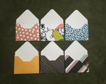 Set of 10 Cards Love Notes Patterned Mini Gift Card Envelopes Scrapbook