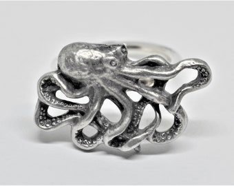 Octopus Scarf Ring, Handmade in England from English Pewter, Brooch, Accessory, sealife