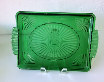Vintage emerald green glassware serving tray small tea service