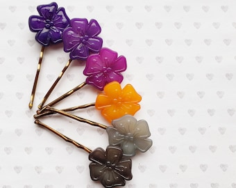 Handmade Seed Bead 3D Hibiscus Flower Barette Hair Clip with Faux Leather Base 9cm
