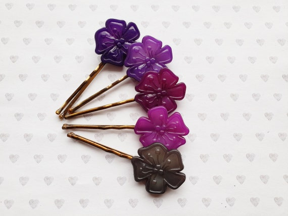 Purple set of 5 flower hair pins by Buch and Deich