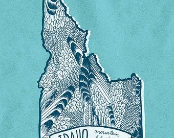 Idaho State Bird Print- Mountain Bluebird, 8x10 inches.