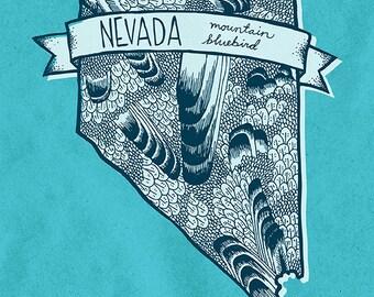 Nevada State Bird Print- Mountain Bluebird, 8x10 inches.