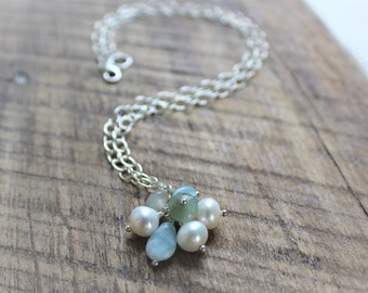 Aquamarine Pendant Necklace with Pearl, and Adventurine Beach Part Necklace Summer Necklace