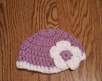 Crochet Newborn Hat with Flower