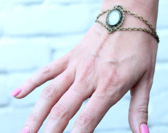Antique Style, Vintage Style, Bronze and Ice Blue Bracelet, Glass Cabochon, Nickel Free
