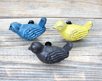 8 CAST IRON BIRD CABINET KNOBS PULLS DRAWER DRESSER HANDLES RUSTIC BIRDS SPARROW