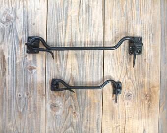 150MM TRADITIONAL BLACK TWIST RING LATCH SET Garden Gate Door Fence Catch Lock
