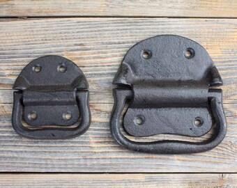 Antiques GOTHIC FLEUR DE LYS END CAST IRON DOOR HANDLE DRAWER PULL WH35